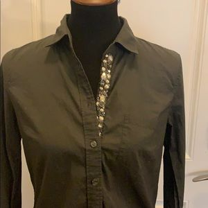 J. Crew jeweled button down top size S